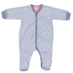 Strampler blau mit All-over Print - People Wear Organic