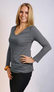 Langarmshirt V-Ausschnitt, graublau - Preciosa