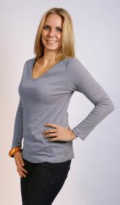 Langarmshirt V-Ausschnitt, flieder - Preciosa