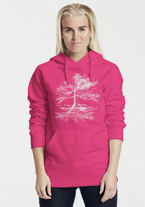 "Bio-Damen-Kapuzensweater ""Rooted"" - Peaces.bio - Neutral® - handbedruckt"