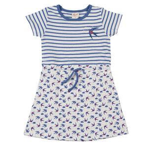 Kleid dunkel blau geringelt mit Vogel Applikation- 100% Biobaumwolle - People Wear Organic