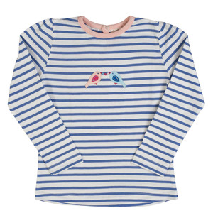 Blau geringeltes Langarmshirt mit Vogel Applikation - Bio-Baumwolle - People Wear Organic
