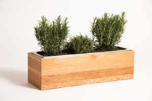 Kräuterbox Eiche Massivholz, 54x18x16 cm mit Edelstahleinsatz - GreenHaus