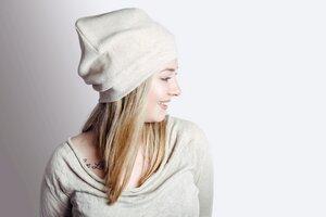Bio Mütze 'Lumi' Baumwollfleece nude - Frija Omina