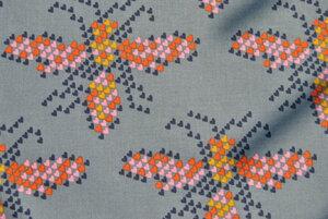 Bio-Baumwoll-Stoff Insekten anthrazit Pixel - Cotton & Steel