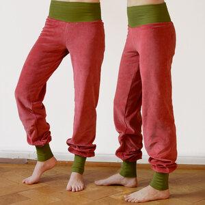 Yoga- und Wohlfühlhose aus Nicki altrosa/olive - Cmig
