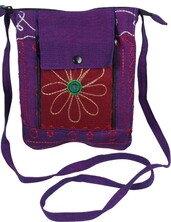 Umhängetasche,lila mit Blume 794-01 - Karma Fair Trade