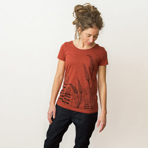Damen T-Shirt Waldwiese in heather brick orange  - Cmig