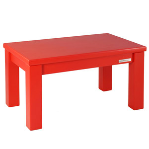 Fußbank Kindersitzbank ECO Massiv-Holz Buche Rot matt lackiert 43 x 26 x 24 cm - NATUREHOME