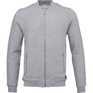 Diagonal Zip Cardigan - OCS - Grey Melange - KnowledgeCotton Apparel