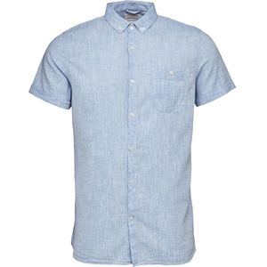 Short Sleeved Cotton/Linen Shirt - GOTS - Placid Blue - KnowledgeCotton Apparel
