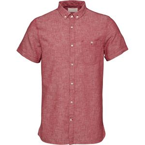 Short Sleeved Cotton/Linen Shirt - GOTS - High Risk Red - KnowledgeCotton Apparel