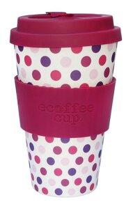 Ecoffee Cup Bambuskaffeebecher 400 ml Pink Polka - Unipolar