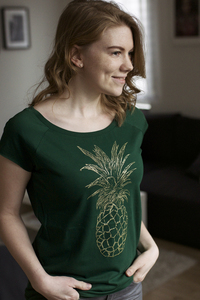 Goldene Ananas Cap Sleeve Shirt Bio & Fair Trade - ilovemixtapes