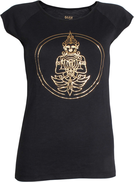 5c114af6fbcdf7 OGNX - OGNX Yoga T-Shirt Buddha Damen Schwarz-Gold   Avocadostore