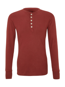 Rib Knit Henley GOTS - Madder Brown - KnowledgeCotton Apparel
