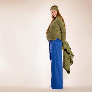 grün, beiger Pullover aus Kaschmir und Biowolle, handgestrickt - Natascha von Hirschhausen