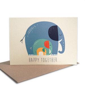 Grußkarte Elefanten aus Recyclingpapier - TELL ME