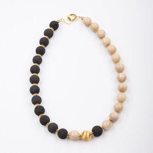 """Collier """"Equinox"""", naturfarbene Tagua und Lava, 925er Silber vergoldet - steinfarben"""