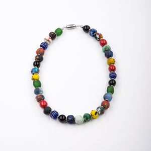 "Collier ""Karneval"" aus 'End of the day beads' (Krobo-Glas) - steinfarben"