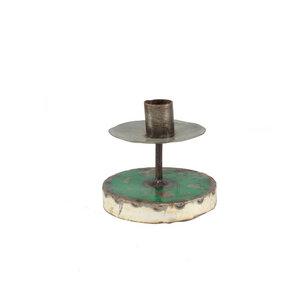 Ölfässer Kerzenständer rund grün/weiß - Africa Design
