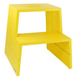 Design Holz-Tritthocker aus massivem Buchen-Holz Gelb mit Tragegriff - NATUREHOME
