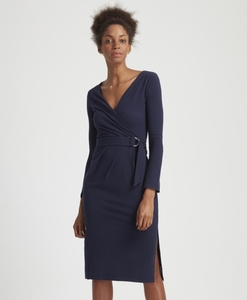 Teagan Wrap Dress Navy - People Tree