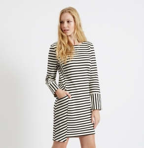 Nadia Stripe Dress Black - People Tree