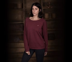 "Bidges&Sons ""Tanker Basic"" Ladies Lowcut Sweater, burgundy heather - Bidges&Sons"