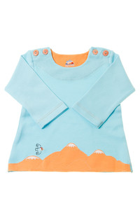 Kuscheliger Pima Bio Baby Pullover, eisblau/orange - Chill n Feel