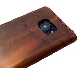 Handy Hülle Echt Natur Leder zertifiziert für Galaxy S7 Edge - Ecollo