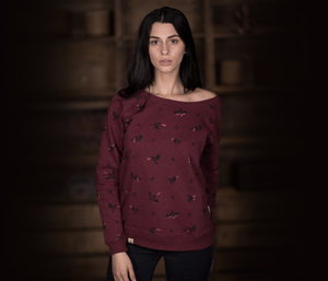 "Bidges&Sons ""Firebirds"" Ladies Lowcut Sweater, burgundy heather - Bidges&Sons"