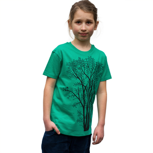 Kinder T-Shirt Erle mit Elster in vivid green - Cmig