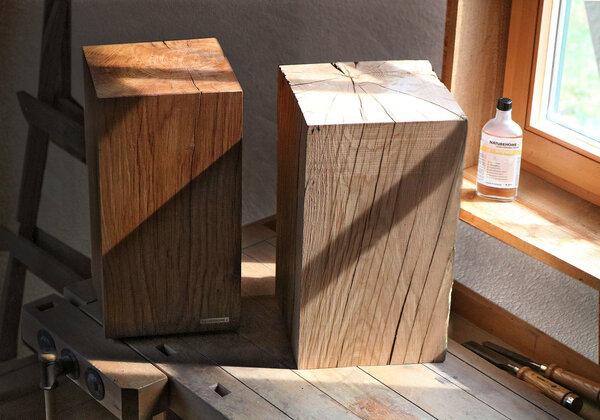 naturehome hocker massivholz eiche baumstamm natur ge lt. Black Bedroom Furniture Sets. Home Design Ideas