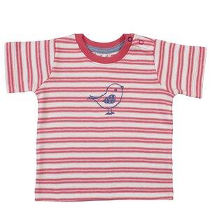 Baby u. Kinder Kurzarmshirt koralle/geringelt ökologisch - People Wear Organic