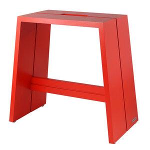 Design Holz-Hocker aus massivem Buchenholz Rot lackiert mit Tragegriff - NATUREHOME