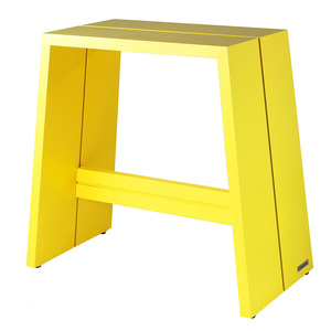 Design Holz-Hocker aus massivem Buchenholz Gelb lackiert  - NATUREHOME