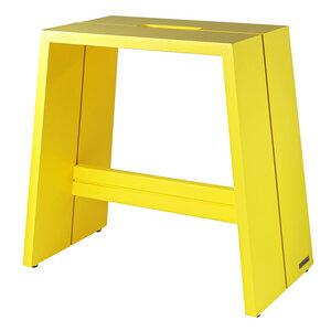 Design Holz-Hocker aus massivem Buchenholz Gelb lackiert mit Griff - NATUREHOME