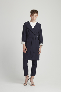 Milena Wrap Coat - Navy - People Tree