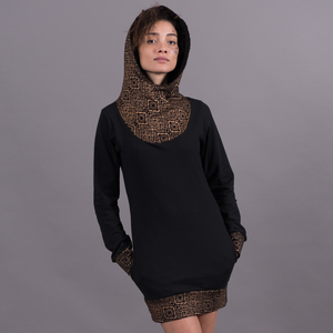 Black Hooded Dress - Copper Aztec Oriental Mashup - Ken Panda