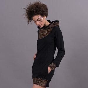 Black Hooded Dress - Copper Aztec Oriental Mashup - Ken Panda