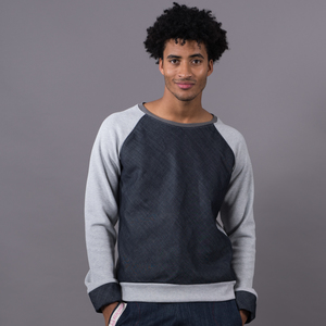 Grey Melange Jumper -  Dark Blue Denim - Ken Panda