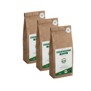 Bio-Fairtrade-Cashewkerne von der Elfenbeinküste (3 x 250g) - Cashew for You