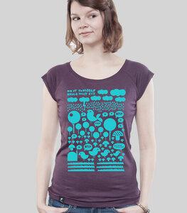 """Bamboo Raglan Shirt Women Aubergine """"Heile Welt"""" - SILBERFISCHER"""