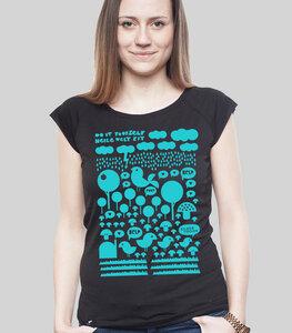 Bamboo Raglan Shirt Women Black 'Heile Welt' - SILBERFISCHER