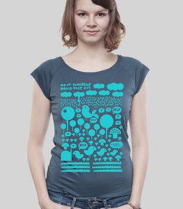 """Bamboo Raglan Shirt Women Denim """"Heile Welt"""" - SILBERFISCHER"""