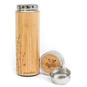 pandoo ♻ Bambus Thermobecher - doppelwandige Thermoflasche mit Teesieb - pandoo