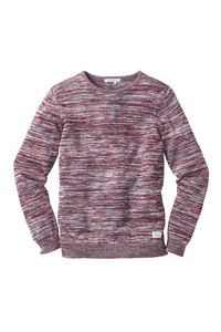 Crew Neck Flecked Knit red / white / faded blue - recolution