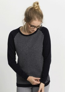 Damen Strickpullover aus Bio Baumwolle | Crew Neck Knit #DOTS navy - recolution