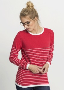 Crew Neck Knit #STRIPES corall - recolution